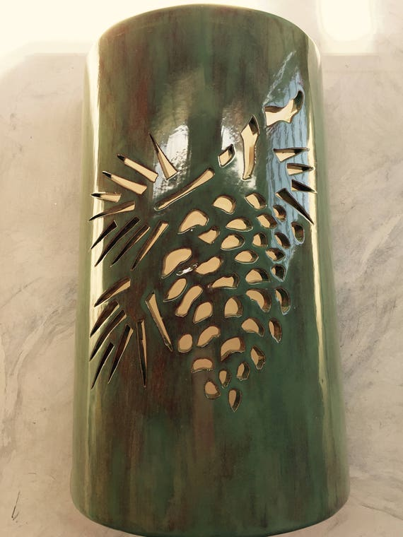 Pine Cone Outdoor Wall Sconce Log Cabin Lighting Rustic Etsy