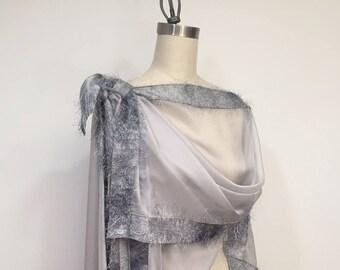 Asymmetric Gray Silk Chiffon Poncho, Light Weight Wrap, Plus Size, One Size, Eyelashes Trim, Shawl, Cape