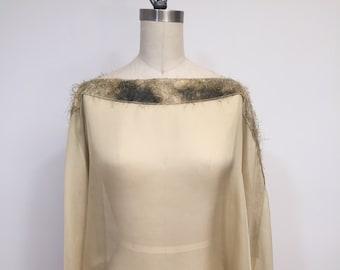 Asymmetric Ecru Silk Chiffon Poncho, Light Weight Wrap, Plus Size, One Size, Eyelashis Trim, Shawl, Cape
