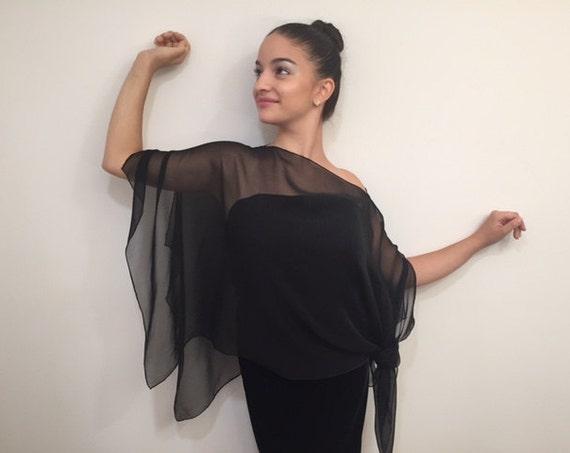 Geometric Silk Chiffon Poncho Black