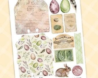 Download Bunny Journal Printable Card and Ephemera SPRING THING Printable SLIMLINE Card and Envelope Kit Printable Flower Notecard
