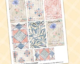 Junk Journal Quilt Blocks PDF Printable Guest CHECKS Shabby Chic MILLIE Guest Check Print Guest Check Journal Card Printable