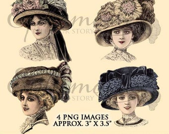 Digital Clipart Millinery - Vintage Hats  1 - Digital Images Women s Hat  Fashions - Millinery Fashion -Victorian Hats - Instant Download 7740e2e9848