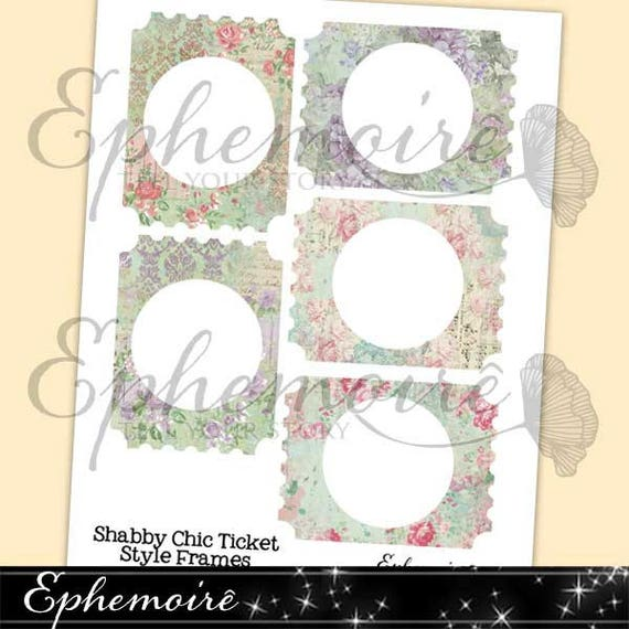 Shabby Chic Floral FRAMES Ticket Shape Journal Embellishment | Etsy