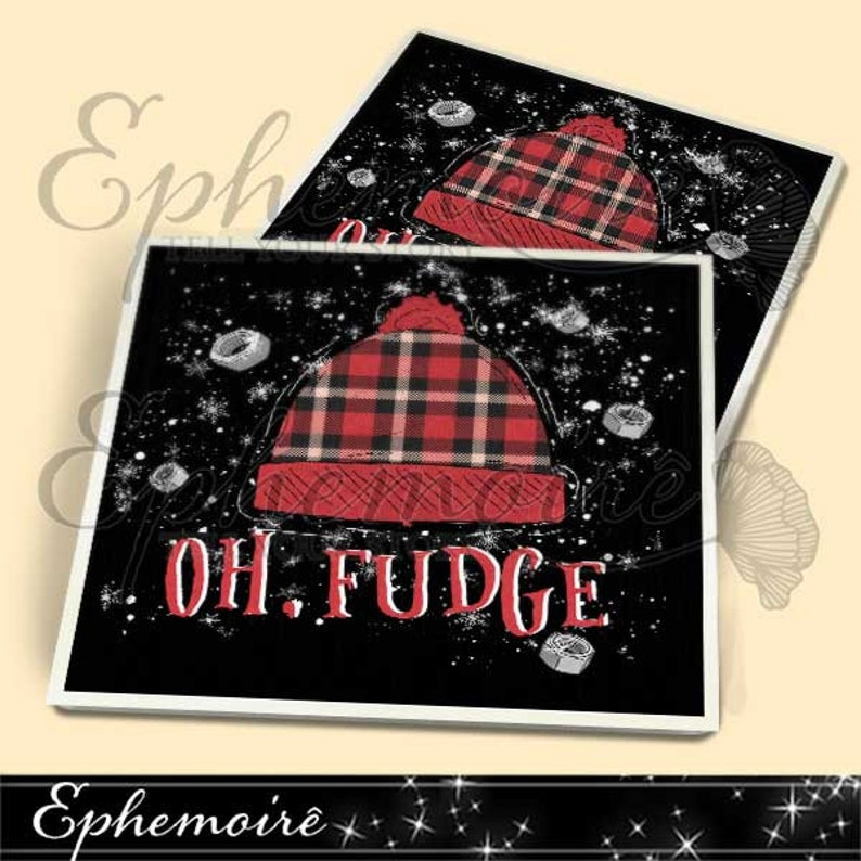 photo about Printable Coasters referred to as Electronic Coaster Collage Sheet - Printable RALPHIE Oh Fudge Coaster Package - 3.8\