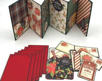 Printable MINI ALBUM Kit - Vintage Christmas Poinsettia and Holly Accordion Album Kit - Journaling - Scraps - Mini Album Printable Kit - PDF
