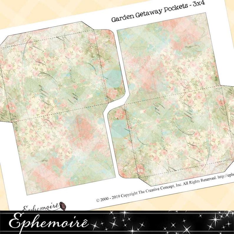 Printable Collage Sheet Printable Ephemera Pockets Collage Sheet GARDEN GETAWAY #1 Journaling Ephemera Journal Pocket