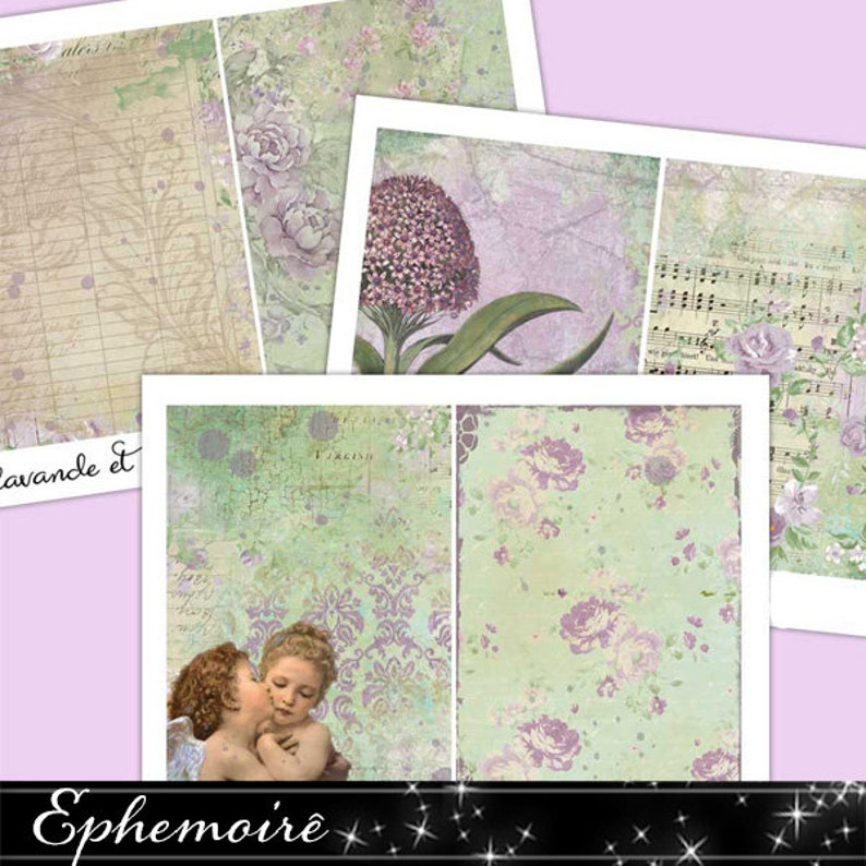 Printable Journal Kit  LAVANDE et PERIDOT  5x7 Digital Paper image 0