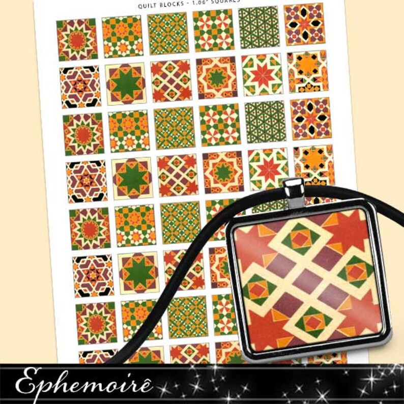 1 Inch SQUARES Collage Sheet - Geometric Quilt Blocks - For Pendants,  Magnets & Wine Charms - Inchies Square Tiles PDF 1 Inch - Pendants