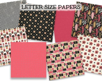 Digital Printable Papers - HOLIDAY GLAM #3 - Black and Pink Christmas Journal Paper - LETTER Size - Digital Papers - Set of 8