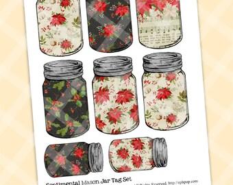 Printable Mason Jar Journal Cards - CHRISTMAS MASON Jar Tags - Digital Tags Cards - Digital Scrap - DIY Tags - Canning Jar Journal Cards