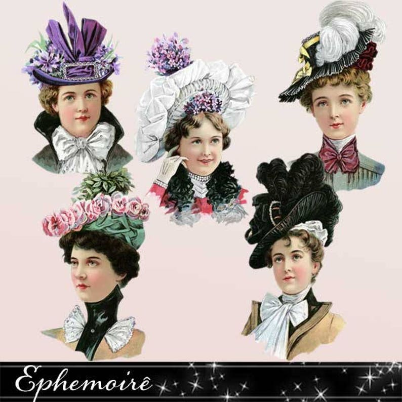Digital Clipart Victorian Women Vintage Hats Digital  7471f519240