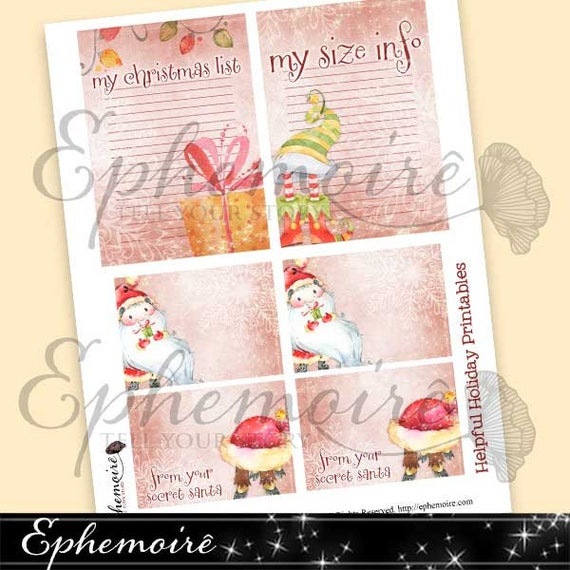 image about Printable Secret Santa Wish List named Electronic Printable Family vacation LISTS - Santa Drive Listing - Mystery Santa Playing cards - Efficient Xmas Printables - Magazine Tags Xmas - Trace Playing cards