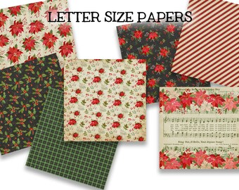 Digital Printable Papers - SENTIMENTAL - Vintage Poinsettia and Holly Christmas Journal Paper - LETTER Size - Digital Papers - Set of 7