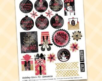 Printable CHRISTMAS GLAM EMBELLISHMENTS - Christmas Embellishments - Journal Accents - Card Element - Collage Sheet - Black Pink Christmas