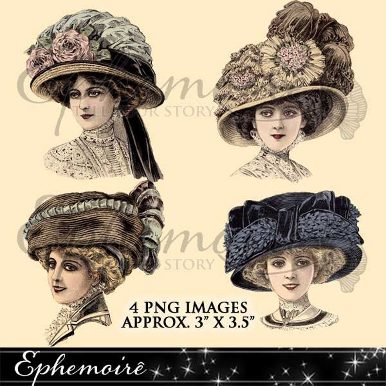 Digital Clipart Millinery Vintage Hats 1 Digital Images  69606c60c9b