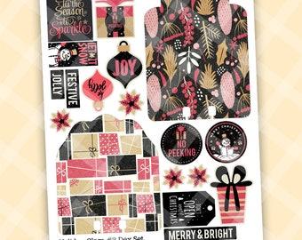 Printable DEX Cards with Ephemera - Dex Printable - BLACK PINK Christmas - Vintage Christmas Dex Printable - Printable Dex Card Printable