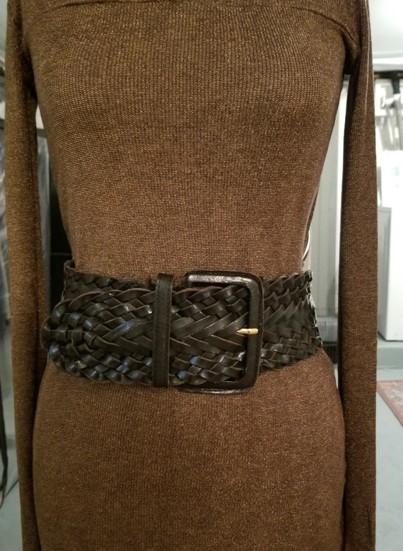 Vintage Omega Cinch Belt ~ Black Leather Wide Brai