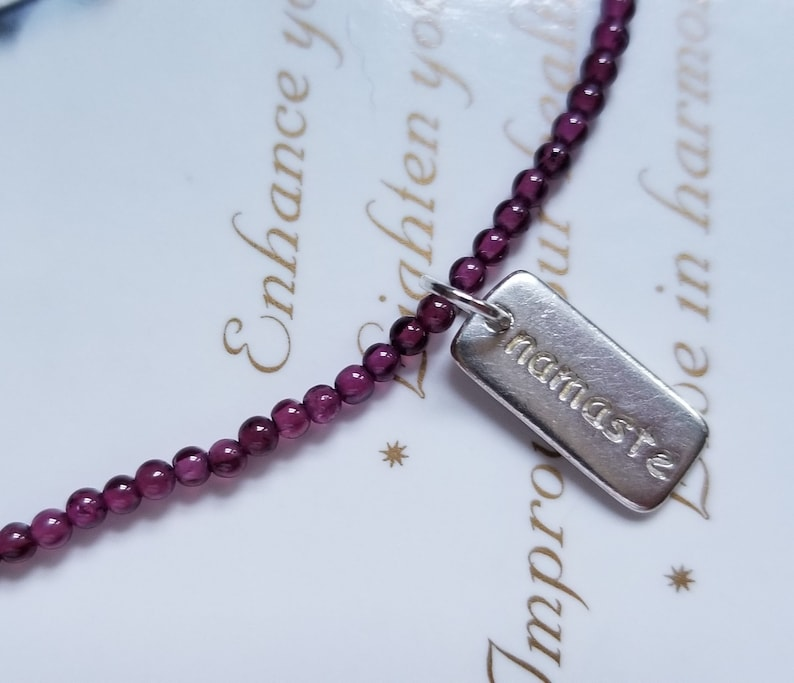 Rhodolite ~ Sterling Namaste Charm ~ Genuine Untreated ~ Therapeutic Quality Gemstone Energy Anklet for Healing 3mm