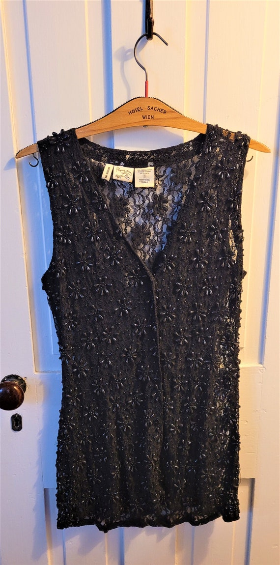 Vintage Black Beaded Flower Design and Lace Long B