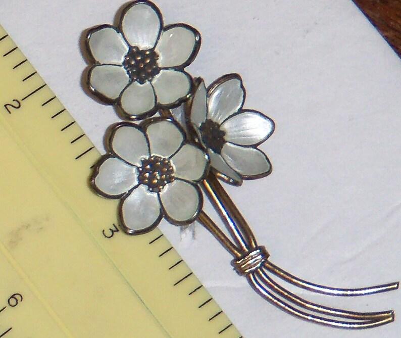 Vintage 3 Flower Sterling Brooch Enamel White Flowers Modernist Magnus Aase Norway 925S