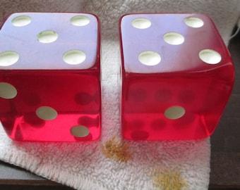 2 Vintage  Bakelite 2 inch red  dice