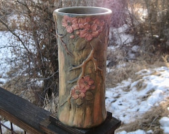 Large Weller Pottery Vase, Woodcraft, Pink Blossom and Branch Motif, Vintage 1920s, Cottage Chic, FREE SHIPPING