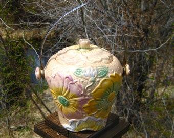 Vintage Pottery Biscuit Jar with Lid, Kensingtonware England, British Pottery, Sunflower, Cottage Chic