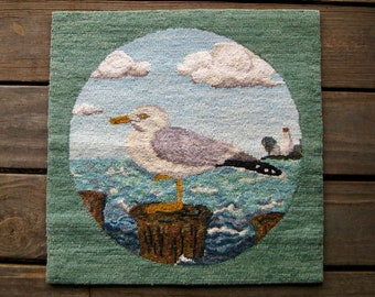 Vintage Seagull Tapestry, Wall Hanging, Pillow Top, Ocean Motif, Beach Decor, Cottage Chic, FREE SHIPPING