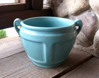 Roseville Pottery Jardiniere in Matte Turquoise, Arts and Crafts, Craftsman, Cottage Chic, Circa 1920s