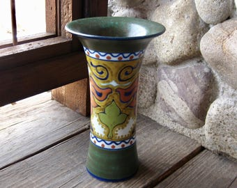 Gouda Pottery Vase, Beek Design, Antique European Art Pottery, Circa 1929, Hand Painted Multi-Colored, FREE SHIPPING