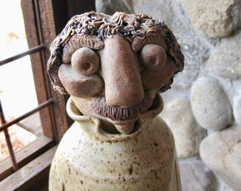 Large Vintage Pottery Sculpture, Bottle, Decanter, Folk Art, Character Figurine, One of a Kind, Mid Century, FREE SHIPPING