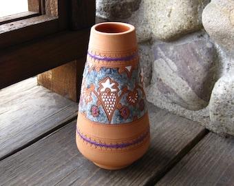Vintage Greek Pottery Vase, Terra Cotta with Enamel Design, European Art Pottery, Cottage Chic, FREE SHIPPING