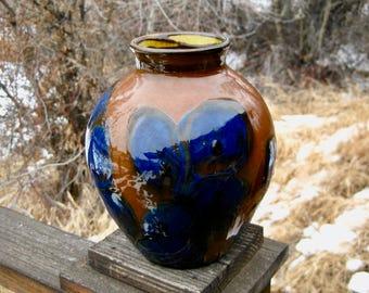 Large Vintage Swedish Pottery Vase, Herman Kahler, Mid Century Modern Style, Brown and Deep Blue