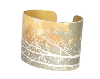 Tall trees hand painted aluminium cuff