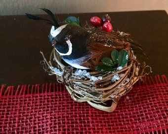 bird nest with winter berries greenery twigs quail
