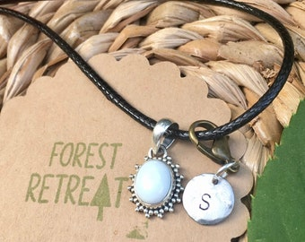 White Opal Necklace with optional free metal stamped initial charm ~ infused with healing Reiki