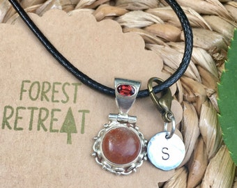 Rainbow Sunstone Necklace with optional free metal stamped initial charm ~ infused with healing Reiki