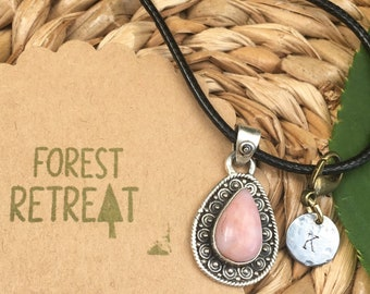 Peruvian Pink Opal Necklace with optional free metal stamped initial charm ~ infused with healing Reiki