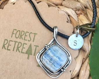 Blue Scheelite Necklace - Turkey - with optional free metal stamped initial charm ~ infused with healing Reiki