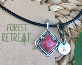 Pink Thulite Necklace - Norway - with optional free metal stamped initial charm ~ infused with healing Reiki