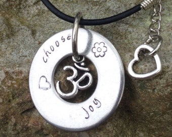 Metal Stamped Pendant - stamp your own message CUSTOM REQUEST: metal stamped stainless steel personalized washer pendant