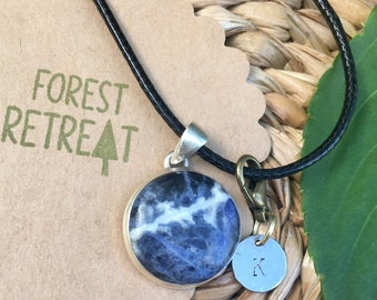 Sodalite Necklace with optional free metal stamped initial charm ~ infused with healing Reiki