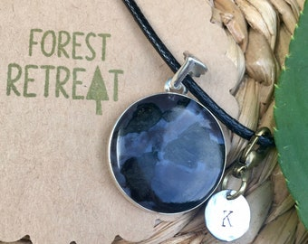 Mystic Merlinite Necklace with optional free metal stamped initial charm ~ infused with healing Reiki