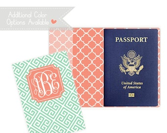 Personalized Passport Cover - Heavy Vinyl with Cardstock Insert - You Choose Colors & Personalization Style - US Passport - Greek Key