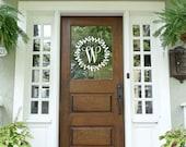 Monogram Door Decal Glass Front Door Laurel Wreath Sticker Fall Porch Fall Door Front Door Decor House Warming Gift