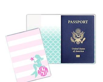 Personalized Passport Holder | Heavy Vinyl with Cardstock Insert | US Passport | Mermaid Luggage | Passport Holder for Girls | Ariel