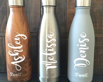 8568af5251 S'well Bottle Personalized Decal | Swell Name Decal Sticker | Script Name |  Water Bottle Decal | Drink Bottle | Personalized Swell