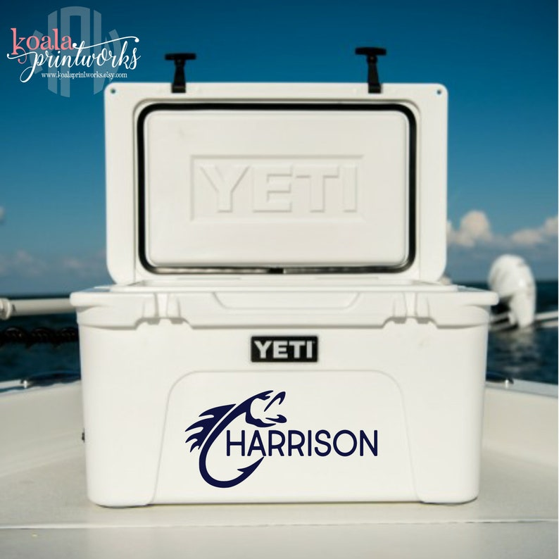 Yeti Cooler Fish Hook Decal Cooler For Men Personalized Cooler Boater Gift Yeti Tundra Monogram Yeti Roadie Decal Dad Gift