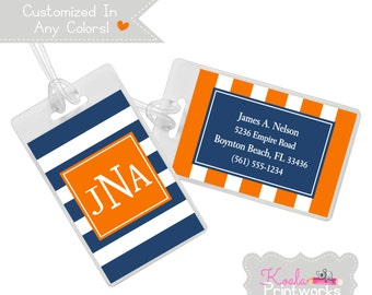 Personalized Luggage Tag - Bag Tag - You Choose the Colors & Personalization Style - Groomsman Gift - Rugby Stripe Pattern